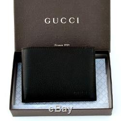 9504953ad4d Gucci New Authentic Designer Mens Logo Leather Bifold Wallet Black 278596