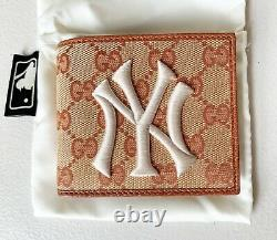 GUCCI Original GG Canvas Leather Bifold Wallet With New York Yankees Patch MLB