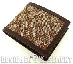 e83fdaf628a Gucci Beige Original Gg Canvas Brown Pebbled Leather Bifold Wallet Nib  Authentic