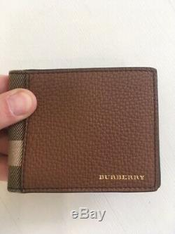 Genuine BURBERRY Grainy Leather and House Check International Bifold Men Wallet