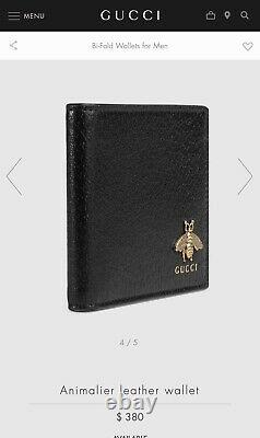 Gucci Black Leather Gucci Animalier Bee Wallet Brand New In Box