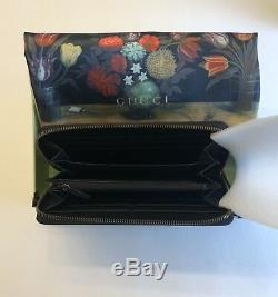 Gucci GG Marmont Black Leather Long Wallet Round Zipper, Made In Italy