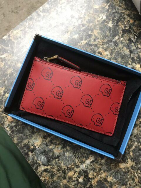 Gucci Ghost Skull Leather Card Case Red Trouble Andrew Supreme Wallet