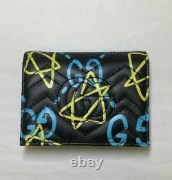 Gucci Marmont Ghost Black Quilted Leather GG Star Card Case Wallet 449421 8438