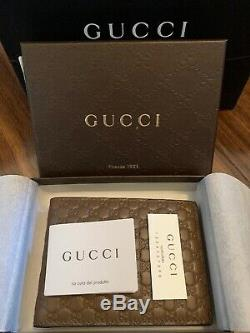 Gucci Men's 278596 Brown Microguccissima Soft Leather Logo Bifold Wallet