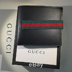 ba236839 Gucci Men's Black Leather Wallet Secured With Elastic Web Closure ...