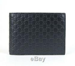 Gucci Mens Navy Blue Guccissima Leather Bifold Wallet with ID Window 367287 4009