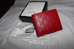 97004081a6f310 Gucci Mens Red Leather Gucci Signature Wallet