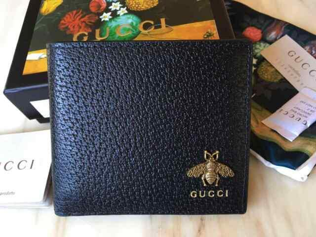 Gucci Mens Wallet Black Animalier Leather Wallet Gold Bee Made In Italy Auth