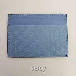 Gucci Micro Guccissima Logo Leather Card Holder Wallet Baby Blue Mineral New