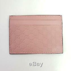 Gucci Micro Guccissima Signature GG Logo Leather Card Holder Wallet Pink New