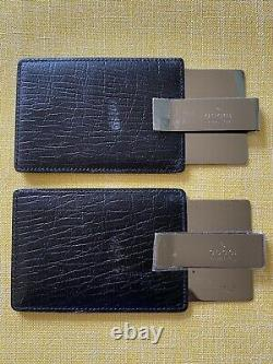 Gucci Money Clip Credit Card Holder Black Leather Stainless Steel Clip