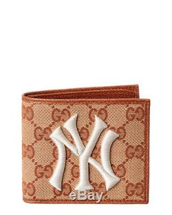 Gucci Ny Yankees Gg Supreme Canvas & Leather Wallet Men's Orange