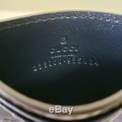 Gucci Signature Logo Leather Card Holder Wallet Navy Blue New