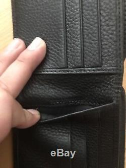 Gucci Wallet Black Soho Pebbled Leather GG Bifold 322114