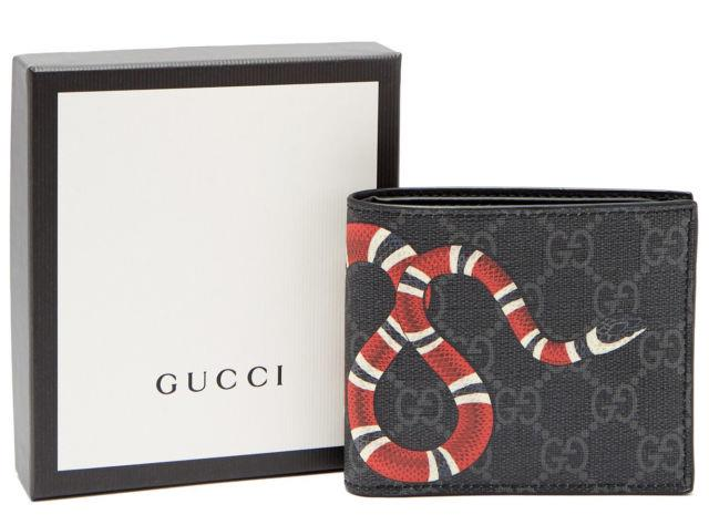 Gucci Wallet King Snake Print Gg Supreme Black Leathers With Box Free Shipping