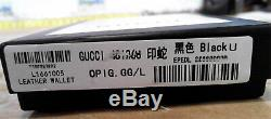 Gucci Wallet Kingsnake Print GG 451268 CardHolder Black Leather Bifold with Box