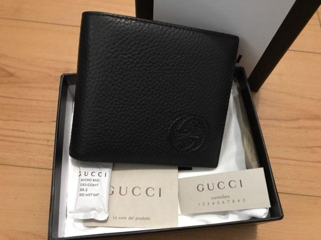 Gucci Wallet Mens Black Soho Pebbled Leather Gg Bifold 322114