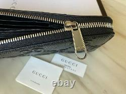 Gucci Women Wallet Embossed GG Black Leather Man Zip Around Made in Italy Auth