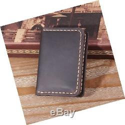 Handmade Bifold Leather Wallet Minimalist Leather Credit Card Wallet Coffee
