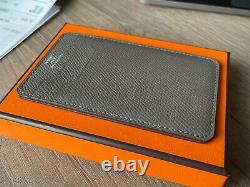 Hermes NEW City card holder Gris Etain gray leather AUTHENTIC wallet case