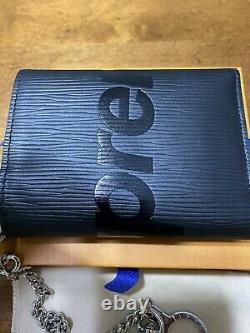 LOUIS VUITTON X Supreme Chain Compact Wallet Leather Black M67711 Very Rare! NWT