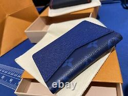 Louis Vuitton Taigarama Pacific Blue Pocket Organizer In Coated Canvas