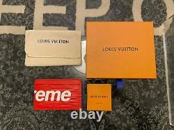 Louis Vuitton X Supreme LV Red EPI Leather CARD HOLDER 100% AUTHENTIC RARE OOS