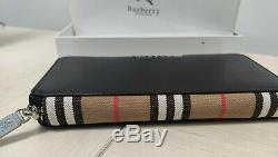 Men's Long Wallet Black Leather Burberry. 100% Genuine Leather