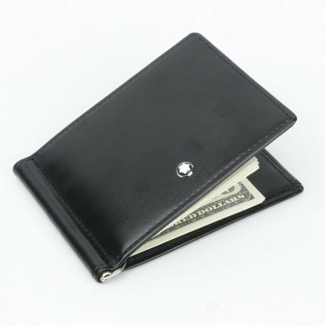 Montblanc Meisterstuck Men's Small Leather Wallet 6cc With Money Clip 5525