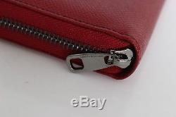 NEW $640 DOLCE & GABBANA Wallet Red Leather Dauphine Continental Clutch Zipper