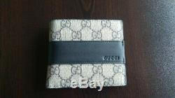 NEW Auth Gucci Men Wallet GG Logo Leather Made in Italy