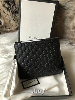 NEW Authentic GUCCI Guccisimma Men's BiFold Wallet Black Embossed GG Leather
