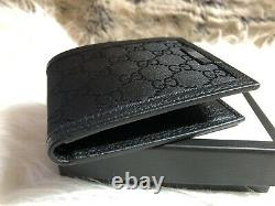 NEW Authentic GUCCI Guccisimma Men's BiFold Wallet In Black GG Canvas / Leather