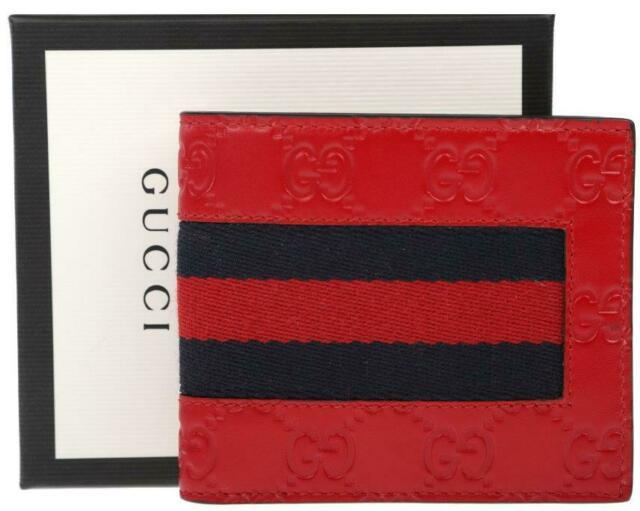 New Gucci Men's Signature Gg Leather Web Detail Bifold Wallet Authentic Withbox