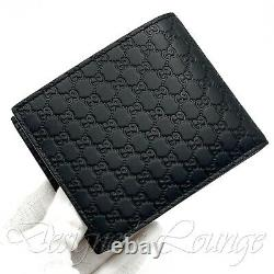 NEW GUCCI MicroGuccissima GG Black Quilted Leather Bi-Fold Wallet $690 Authentic
