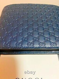 NEW GUCCI MicronGuccissima GG Navy Quilted Leather Wallet $690 Authentic