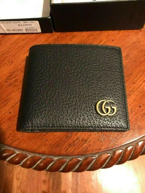 New Gucci Men's Black Leather Marmont Bi-fold Wallet 100% Authentic Free Ship
