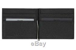 NEW PRADA MILANO SOFT GRAINED BLACK LEATHER LOGO WALLET CARD HOLDER WithMONEY CLIP