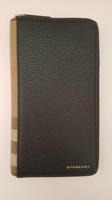 Nib Auth Burberry House Check And Grain Leather Ziparound Men Wallet, No Tags