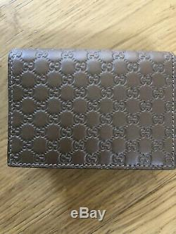 NWB Gucci Mens Microguccissima GG Soft Leather Card Case Wallet Acero Brown