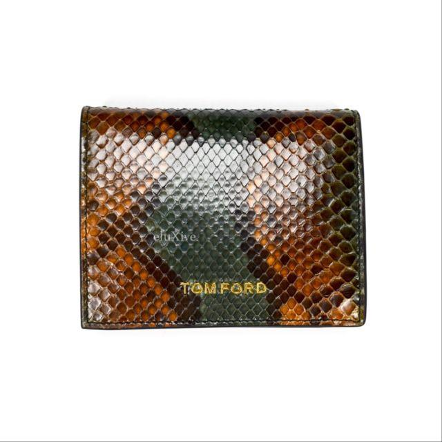 Nwt $950 Tom Ford Men's Green Brown Exotic Python Snake Leather Wallet Authentic