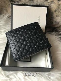 NWT Authentic GUCCI Guccisimma GG BiFold Mens Wallet In Black Embossed Leather