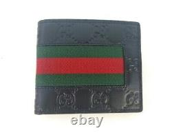 NWT Authentic Gucci Mens Web Black GG Signature Bi fold Web wallet withBox