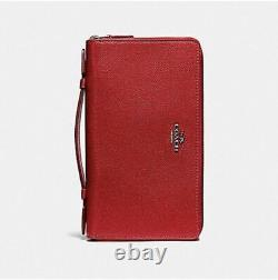 NWT Coach Double Zip Travel Organizer In Crossgrain Leather F23334 Black and Red