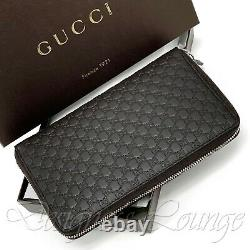 NWT GUCCI Micro GG Guccissima Brown Leather Zip Around Large Continental Wallet