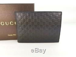 NWT Gucci Authentic Mens Brown Micro Guccissima Bi fold Wallet with Coin Pocket
