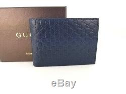 NWT Gucci Authentic Mens Navy Blue Micro Guccissima Bi fold Wallet withCoin Pocket