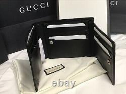 NWT Gucci Men's Black Microguccissima GG Logo Leather Bifold Wallet with ID SLOT