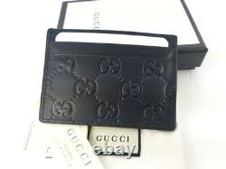 NWT Gucci Mens Black Signature Leather GG Card Case Card Holder